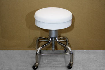 SOLD - Vintage Pedigo Medical Stool, White Leather