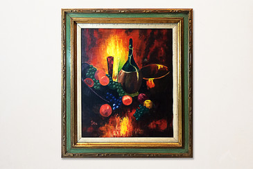 Still Life Oil Painting of Wine & Fruit by Stu. 1970s, Free Shipping