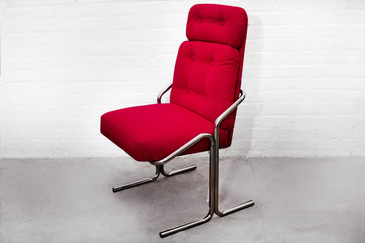 SOLD - Douglas Of California Chrome Tube Lounge Chair, 1970s