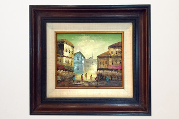SOLD - European Street Scene Painting Signed S. Tarr