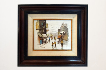 SOLD - Asian Street Scene Painting by L. Wong