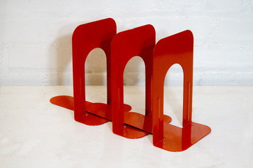 SOLD - Set of Three Vintage Bookends, Safety Orange, 1990
