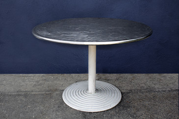 SOLD - 1960s Round Stainless Cafe Table on Cast Aluminum Base