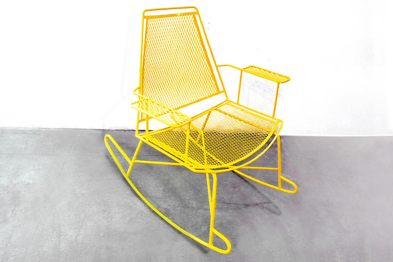 Sold Mid Century Metal Mesh Patio Rocking Chair