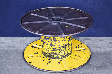 SOLD - Vintage Steel Cable Spool in Bright Yellow, circa 1960s