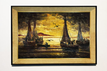 Signed Seascape Oil Painting with Sailboats, circa 1960s, Free Shipping