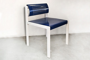 SOLD - Set of 4 Modern Steel Patio Chairs with Perforated Design, Refinished