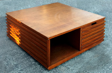 "SOLD - Art Deco Style Walnut ""Cube"" Coffee Table, circa 2000"