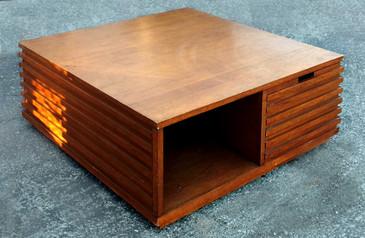 "SOLD - Art Deco Style Walnut ""Cube"" Coffee Table, circa 2000"