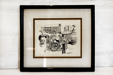 SOLD - B.A Kloezeman Urban Street Scene Ink Drawing, 1970s