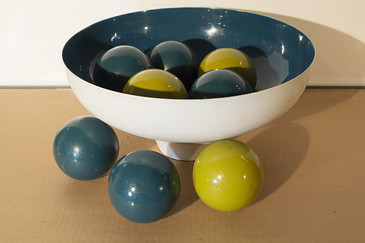 SOLD - Mod Steel Bowl Centerpiece with Painted Balls 1970s