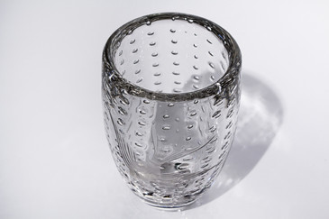 SOLD-Glass Vase with Etched Fish Design and Controlled Bubble