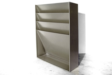 SOLD - Retro Vertical File/Magazine Holder, Refinished in Silver Metallic