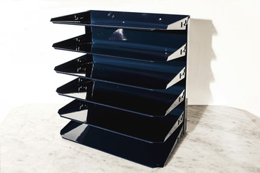 SOLD - Retro FileMagazine Holder, Refinished in Midnight Blue