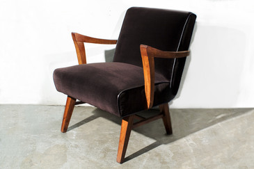 SOLD - Wormley for Dunbar Style Armchair in Brown Micro Velvet.