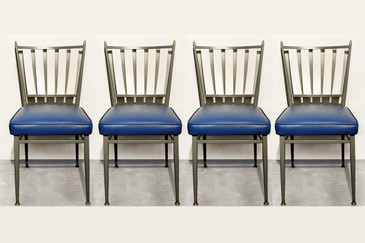 SOLD - Set of Four Chromecraft 1950s Slat Back Dinette Chairs