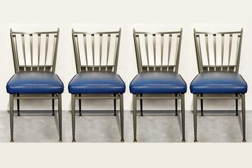 SOLD - Set of Four Chromecraft 1950s Slat Back Dinette Chairs