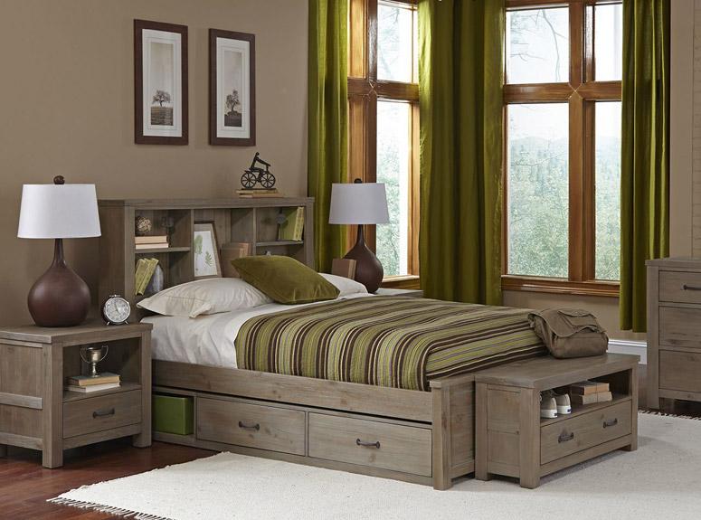Montauk Bookcase Bed, Full - Driftwood