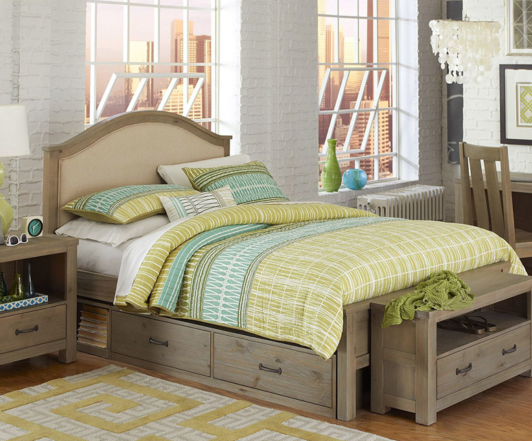 Montauk Upholstered Bed, Full - Driftwood