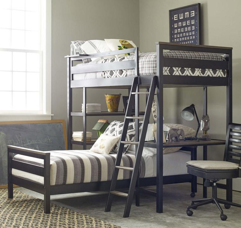 myRoom Metal Loft Bunk Bed - Dark