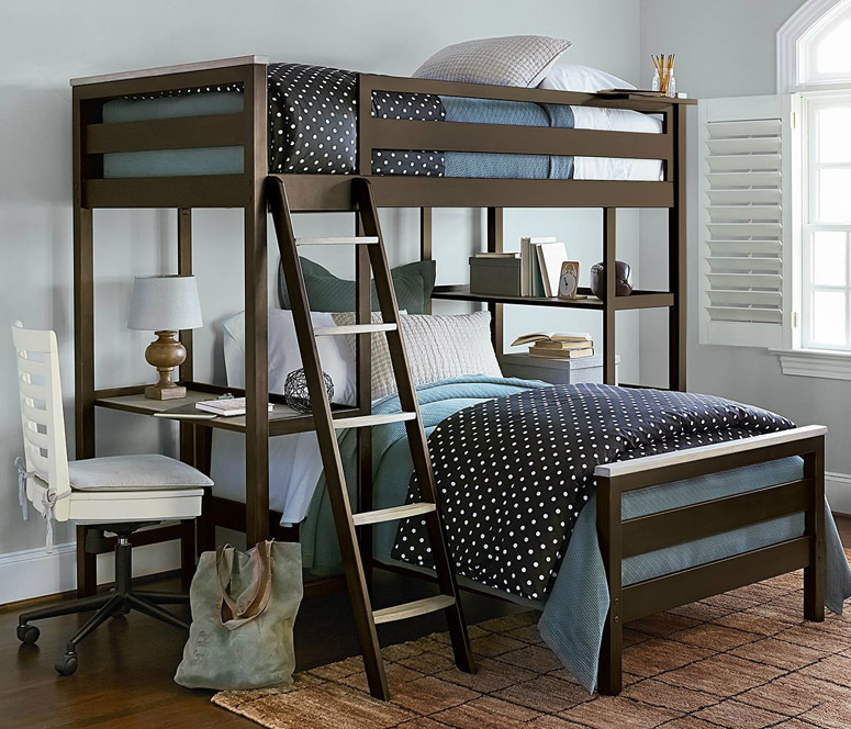 myRoom Metal Loft Bunk Bed - Light