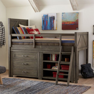 Bunkhouse Panel Loft, Twin w/ Dresser & Bookcase