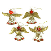 Glitter Angel Christmas Hangers Gold - Set of 4