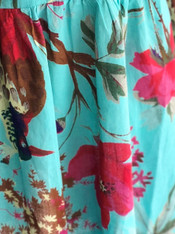515809 Bird Print Aqua Long Dress