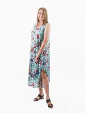 515809 Bird Print Aqua Long Dress