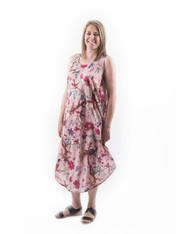 515810 Bird Print Peach Long Dress