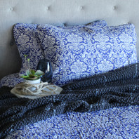 Isabella Blue and White Floral Quilt Set