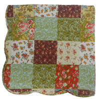 Patchwork Quilt Throw Red/Mustard Reversible