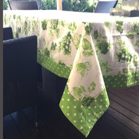 Floral Green Dotted Border Table Cloth