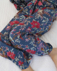 Lounge Pants - Bird Print Indigo Blue Pack of 3: S, M, L