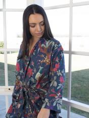 Bird Print Indigo Blue Kimono