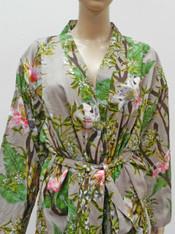 Bamboo Print Ash Grey Kimono