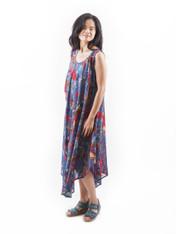 515800 Bird Print Indigo Long Dress