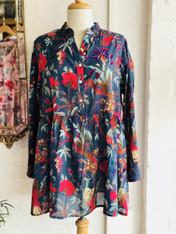 Bird Print Indigo Mandarin Collar Tunic (Pack of 2)
