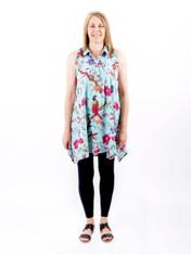 Bird Print Aqua Sleeveless Tunic with Lining (Pack of 2)