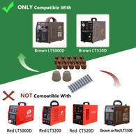 Lotos LCS77 Plasma Cutter Consumables Sets for Brown Color LT5000D and Brown Color CT520D, 77 Pieces