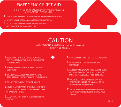 Anhydrous Graphics Caution & First Aid  Decal   48115