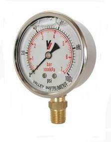 "Valley Industries 2.5"" Liquid Filled Gauge, Dual Scale, 30PSI | 2140GXB30"