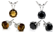 18K White Gold Plated 3 CTW Swarovski Elements Crystal Necklace Earrings Set