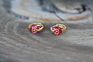 18K Gold Red Corundum Mercedes Designer Brass Earrings