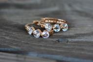 18K Gold Plated 3 Oval White Zircon AAA+ Designer Earrings Hoops Loops