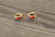 18K Gold Multi color Zircon AAA Designer Brass Earrings