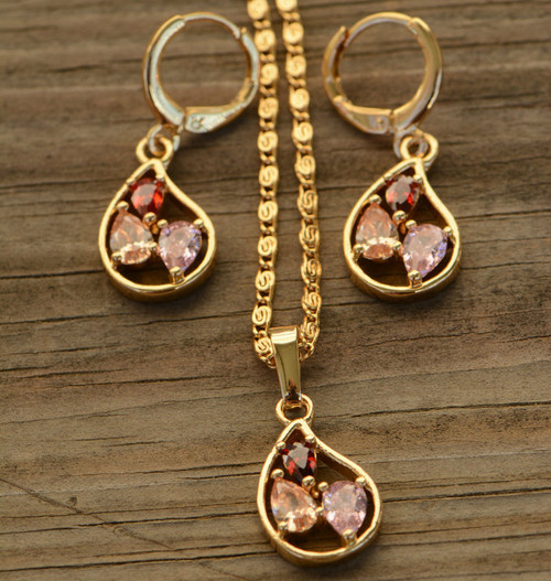 18K Gold Multicolor Teardrop Zircon AAA Designer Women Brass Set