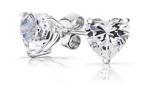 925 Sterling Silver 2 CTW Swarovski Heart Earrings