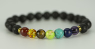 Rainbow Lava Chakra Healing Balance Beads Reiki Prayer Unisex Bracelet