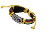Fashion Maple Leaf Decor Braid Faux Leather Strap Unisex Bracelet